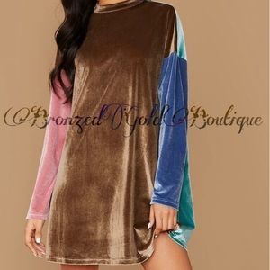 Multicolored Velvet Dress